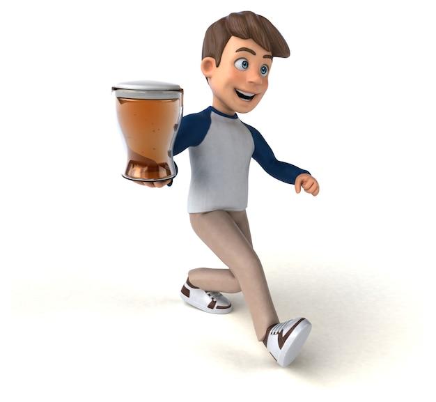 3d-zeichentrickfigur lustiger teenager mit bierglas