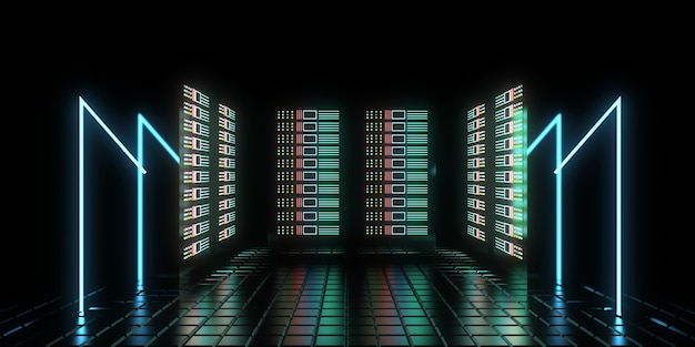 3d zukünftiges rechenzentrumskonzept mit neonlichtern. 3d-illustration