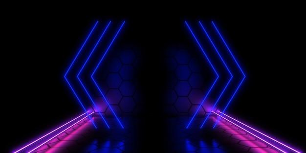 3d zukünftiges rechenzentrumskonzept mit neonlichtern