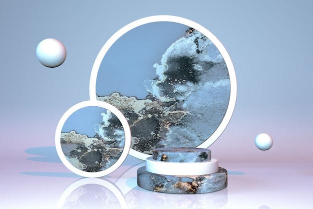 3d-zylinderpodest mit blauem marmoreffekt