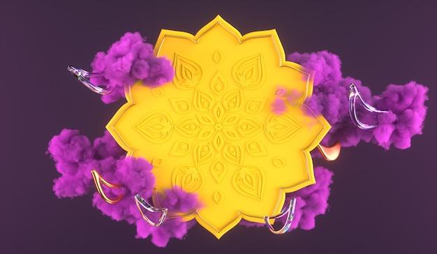 3diwali, festival of lights 3d-szene mit indischem rangoli, glänzender und goldener dekorativer diya-öllampe, lila wolken. 3d-rendering-abbildung.