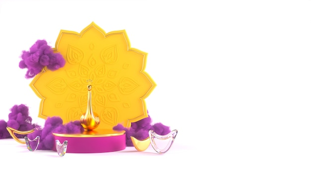3diwali, festival of lights podium szene mit 3d indian rangoli, glänzende und goldene dekorative diya-öllampe, lila wolken. 3d-rendering-abbildung.