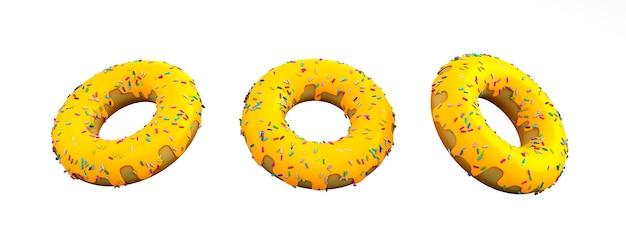 3drendering gelber donut cheeze auf weißem hintergrund