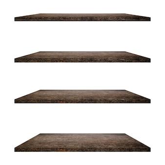4 holzregale tisch isoliert auf weißem hintergrund und display-montage für produkt.
