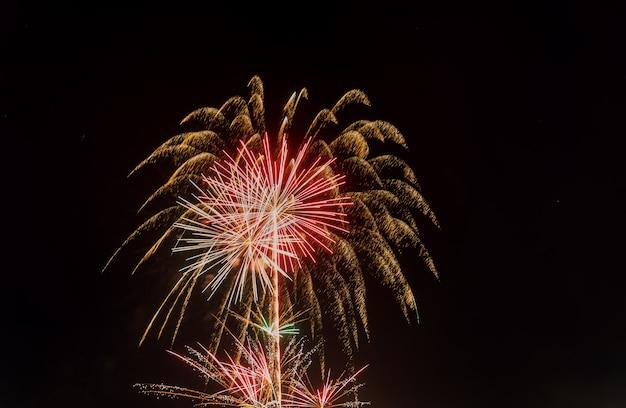 4. juli feuerwerk. feuerwerke zeigen auf hintergrund des dunklen himmels an.
