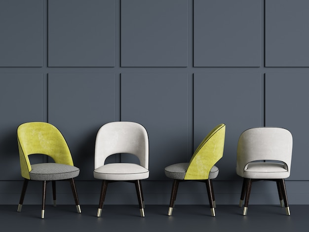4 stühle auf blauem wandkopienraum. 3d-rendering