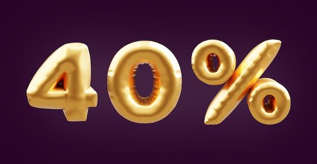 40 prozent goldene 3d-ballonillustration. 3d goldene vierzig prozent ballonillustration. 40% goldene luftballons