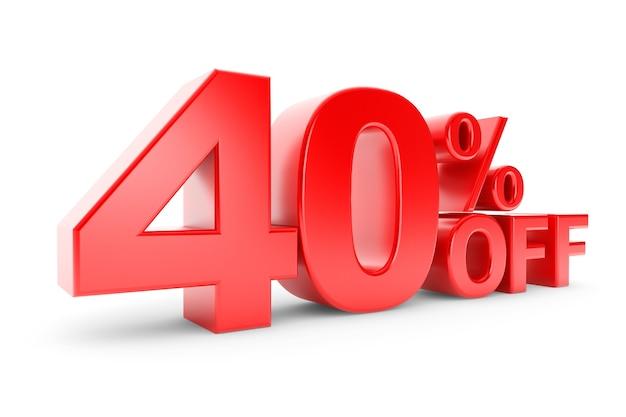40 prozent rabatt auf weißem hintergrund