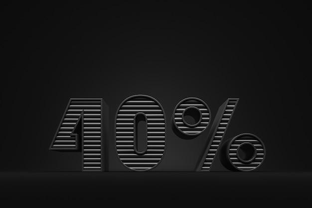40-prozent-rabatt-etikett aus schwarzen buchstaben auf schwarzem hintergrund black friday-konzept