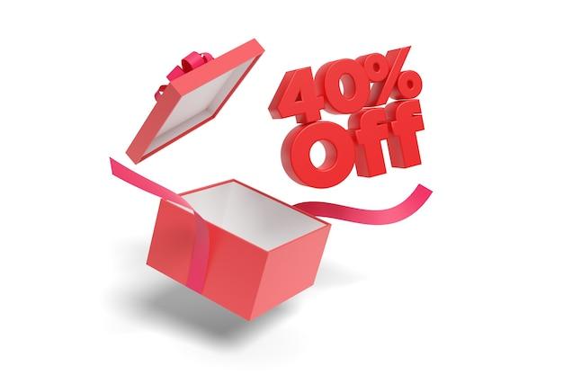 40 % rabatt auf text aus einer geschenkbox isoliert auf weißem hintergrund.