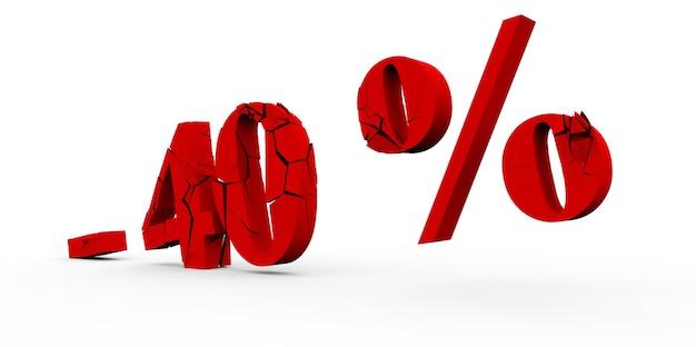 40% rabatt auf weißem hintergrund 3d
