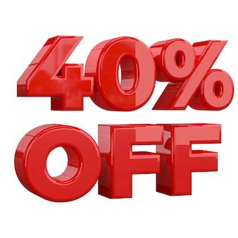 40% rabatt auf weißem hintergrund, sonderangebot, tolles angebot, verkauf. vierzig prozent rabatt auf werbeartikel