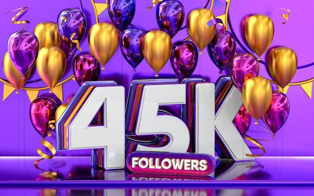 45.000 follower feiern danke social media banner mit lila und goldenem ballon 3d-rendering
