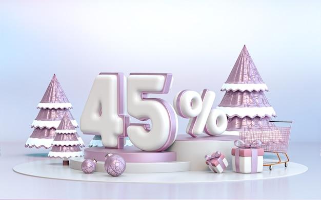 45-prozent-winter-sonderangebot-rabatt-hintergrund für social media-werbeplakat 3d-rendering