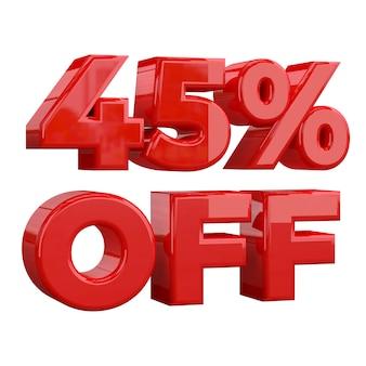 45% rabatt auf weißem hintergrund, sonderangebot, tolles angebot, verkauf. fünfundvierzig prozent rabatt auf werbeartikel