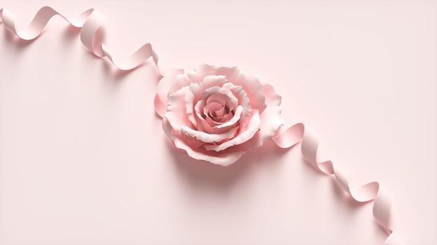 4d kino rendering von verzierten blumen auf rosa hintergrund