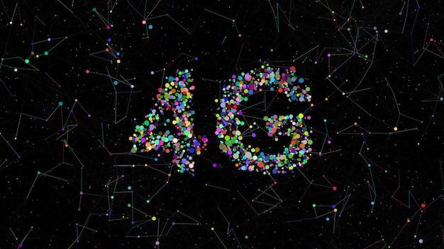 4g titel aus kreisen mit zufälligen farben. plexus-elemente drumherum. bunter hintergrund der technologie.
