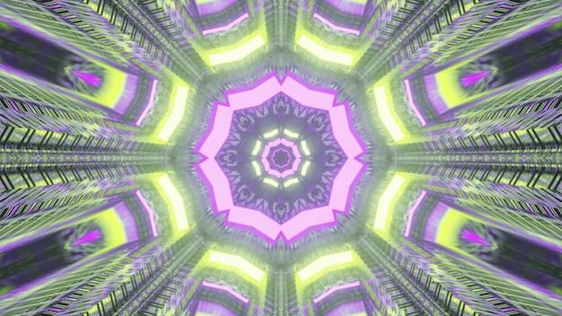 4k uhd 3d-darstellung des geometrischen neontunnels