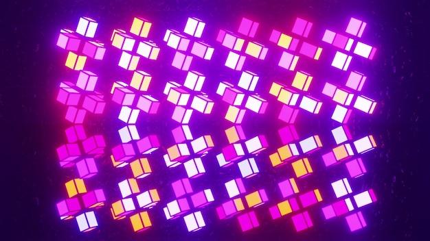 4k uhd 3d-darstellung von bunten kubischen blöcken, die mit buntem neonlicht leuchten und symmetrische ornamente bilden