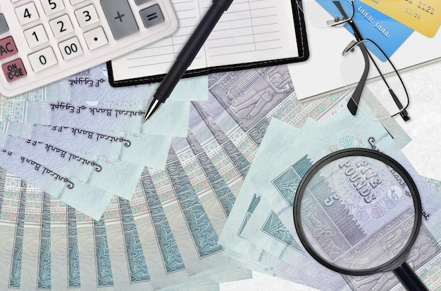 5 ägyptische pfund rechnungen und taschenrechner mit brille und stift. steuerzahlungssaison-konzept oder anlagelösungen.
