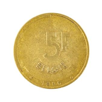 5 bronze-franc-münze belgien geld isoliert auf einem weißen hintergrundfoto