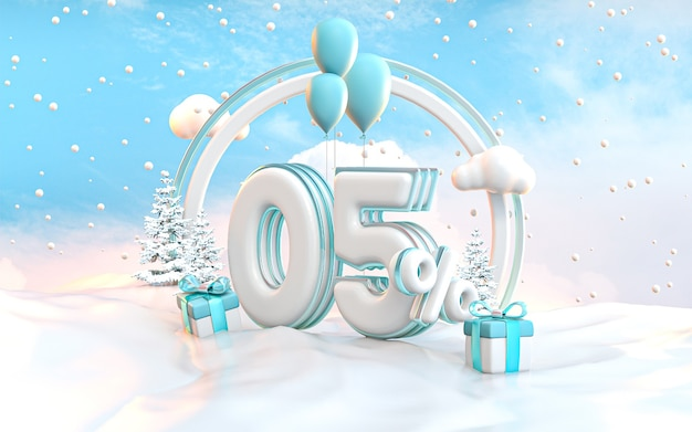 5 prozent winter-sonderangebot-rabatt-hintergrund für social media werbeplakat 3d-rendering