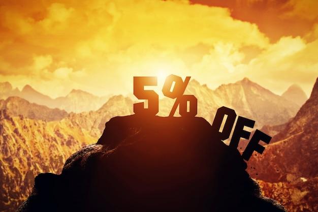 5% rabatt auf einen berggipfel.