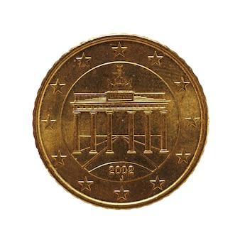 50-cent-münze, europäische union, deutschland isoliert über weiß