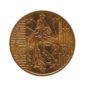 50-cent-münze, europäische union, frankreich isoliert über weiß