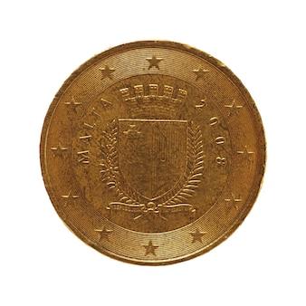 50-cent-münze, europäische union, malta isoliert über weiß