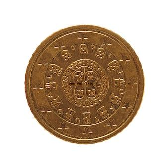 50-euro-münze, europäische union, portugal isoliert über weiß