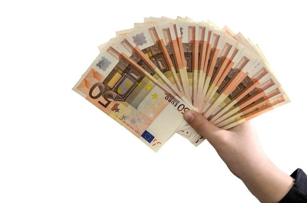 50-euro-scheine in den händen einer geschäftsfrau