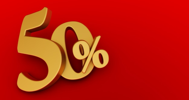 50% rabatt. fünfzig-fünfzig. gold fünfzig prozent. gold fünfzig prozent auf rotem hintergrund. 3d-rendering.