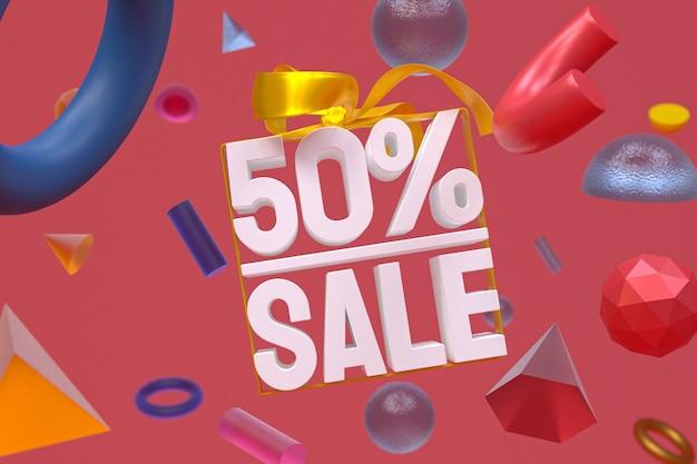 50% verkauf mit bogen und band 3d design auf abstraktem geometrie-banner