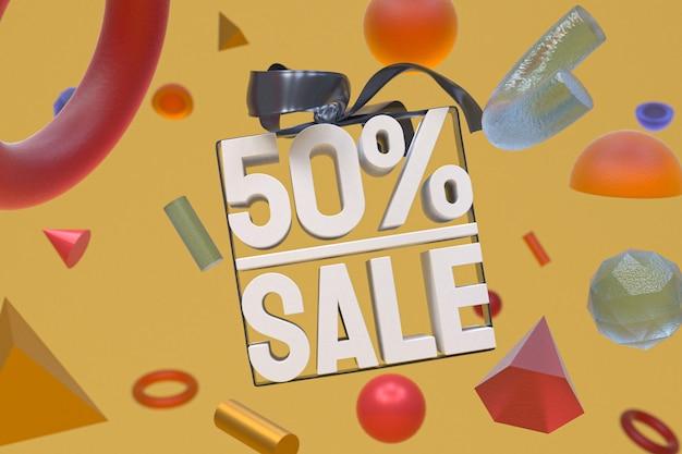 50% verkauf mit bogen und band 3d-design auf abstrakter geometrie-hintergrund