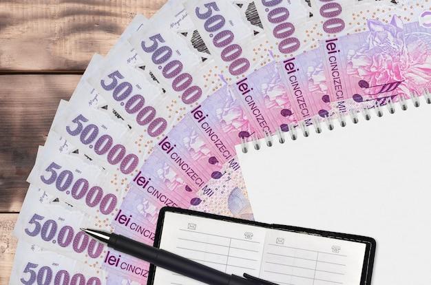 50000 rumänische leu rechnungen fan und notizblock mit kontaktbuch und schwarzem stift