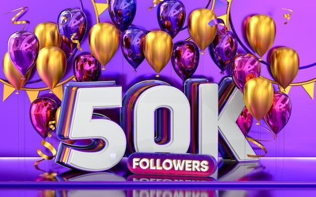 50k-follower-feier danke social-media-banner mit lila und goldenem ballon 3d-rendering