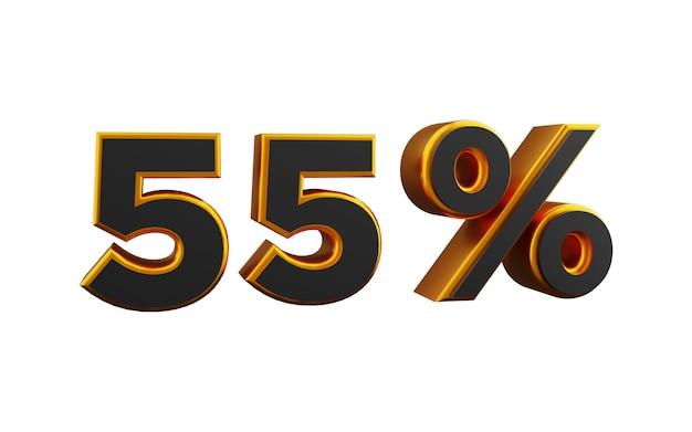 55 prozent goldene 3d-zahlenabbildung. 3d goldene fünfundfünfzig prozent zahlenillustration.