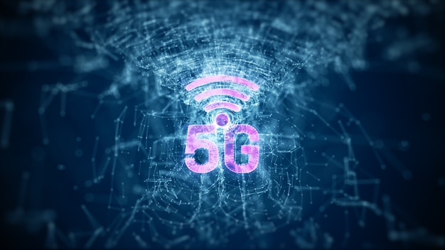 5g high speed internet connection line und punkte connect internet of things iot