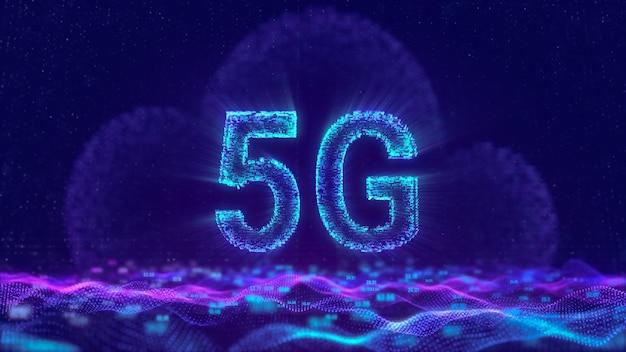 5g internet-netzwerk mit cloud-computing-technologie, digitales mobilfunk-konzept mit futuristisch fließenden dateninformationsteilchen