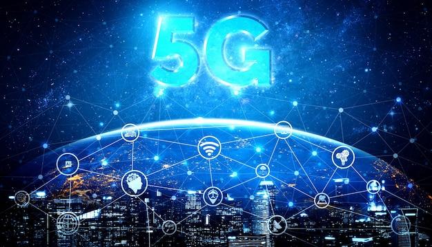 5g-kommunikationstechnologie drahtloses internet-netzwerk für globales geschäftswachstum, soziale medien, digitalen e-commerce und unterhaltung.