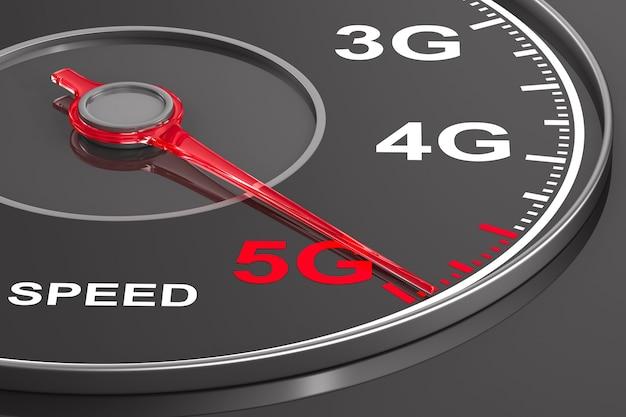 5g netzwerk auf tacho. 3d-illustration