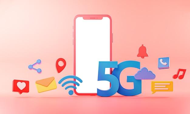 5g phone concept wifi-verbindung mit symbolen 3d-rendering.