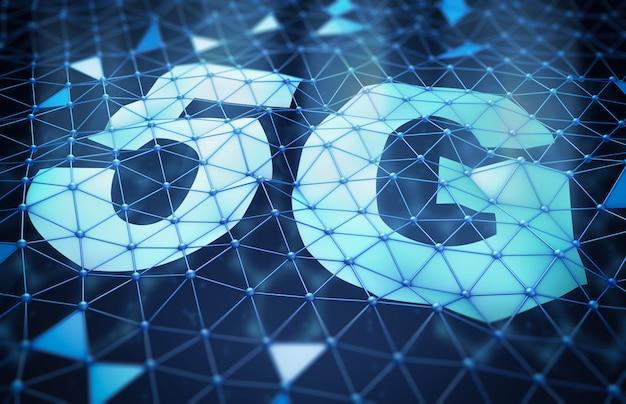 5g-symbol und ein netzwerk von dreieckigen zellen