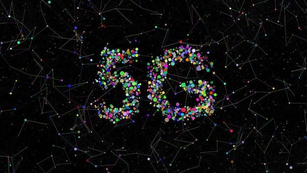 5g titel aus kreisen mit zufälligen farben. plexus-elemente drumherum. bunter hintergrund der technologie.