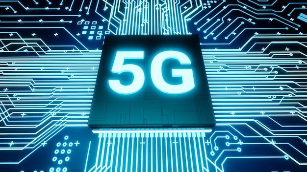 5g-unterstützungsmikrochip auf der smartphone-platine, intelligenter iot-kommunikationsmikroprozessor, 3d-rendering futuristischer schneller echtzeit-mobilfunk-internettechnologie-konzepthintergrund