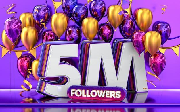 5m-follower-feier danke social-media-banner mit lila und goldenem ballon 3d-rendering