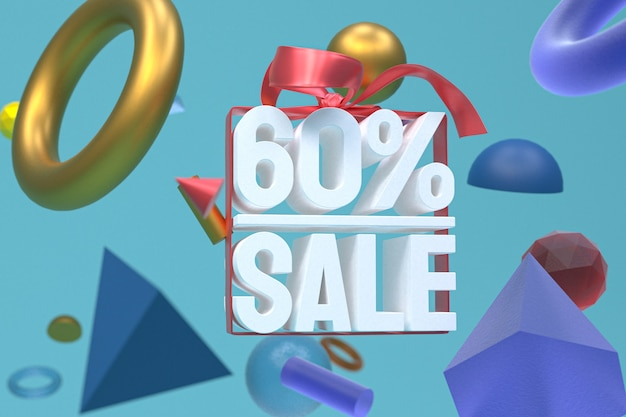60% verkauf mit bogen und band 3d design auf abstraktem geometriehintergrund