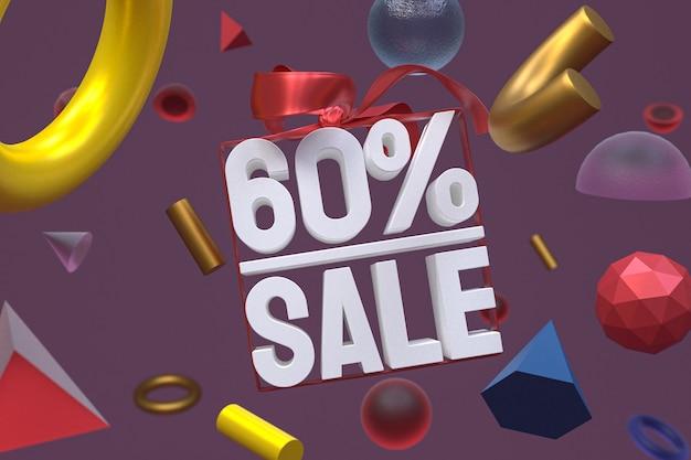 60% verkauf mit bogen und band 3d-design auf abstrakter geometrie-hintergrund