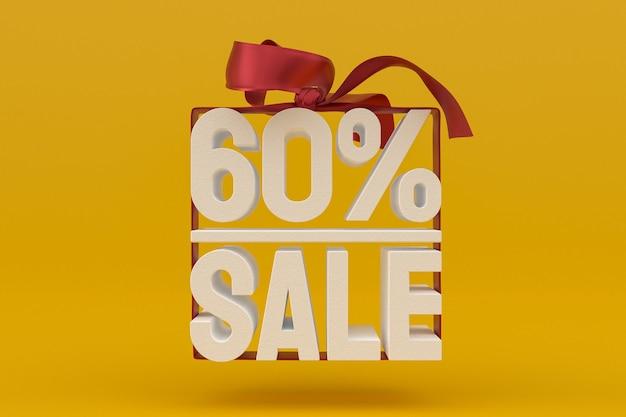 60% verkauf mit schleife und band 3d-design auf leerem hintergrund